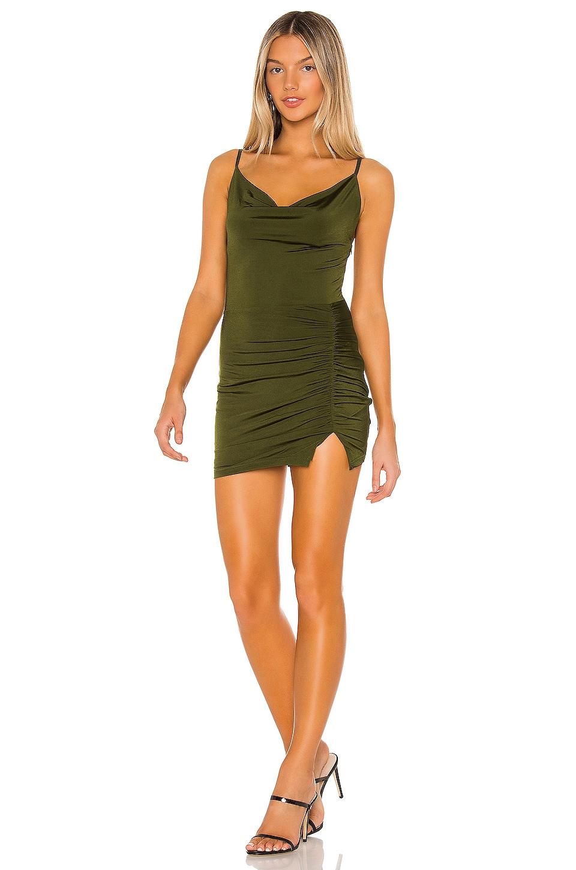 superdown Tia Cowl Neck Mini Dress in Army Green