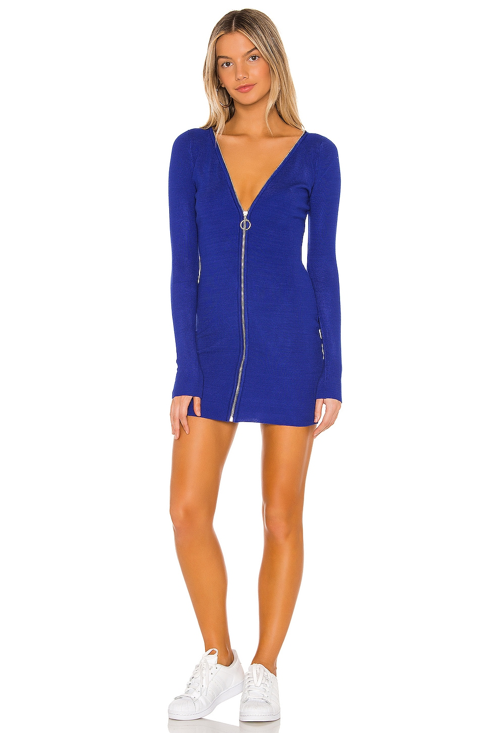 superdown Mara Zip Front Dress in Blue