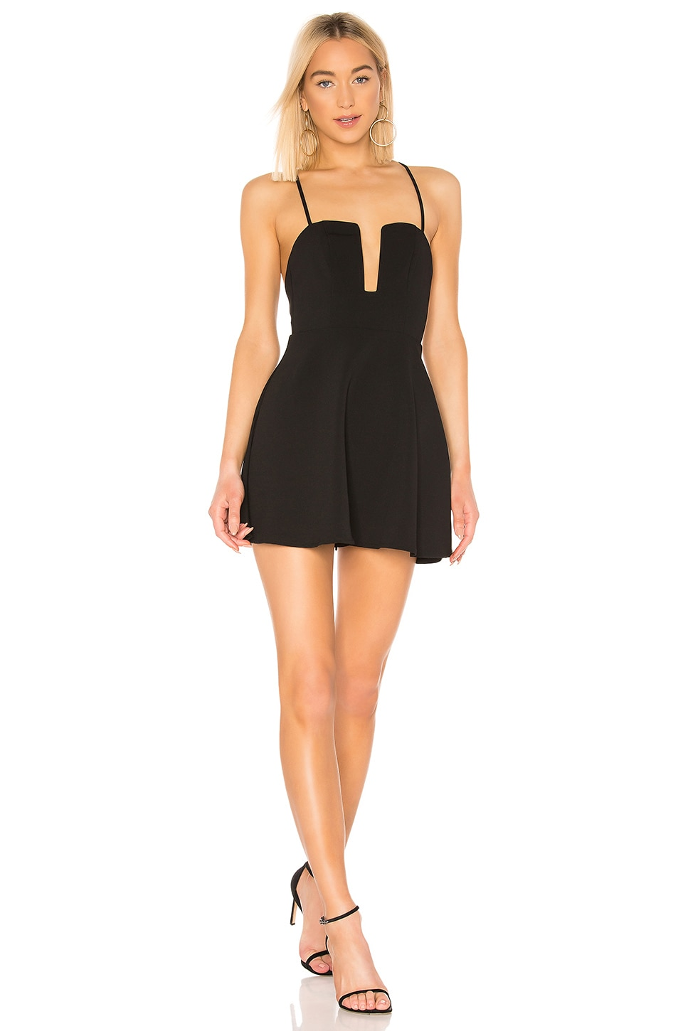 superdown Kirsten Flare Mini Dress in Black