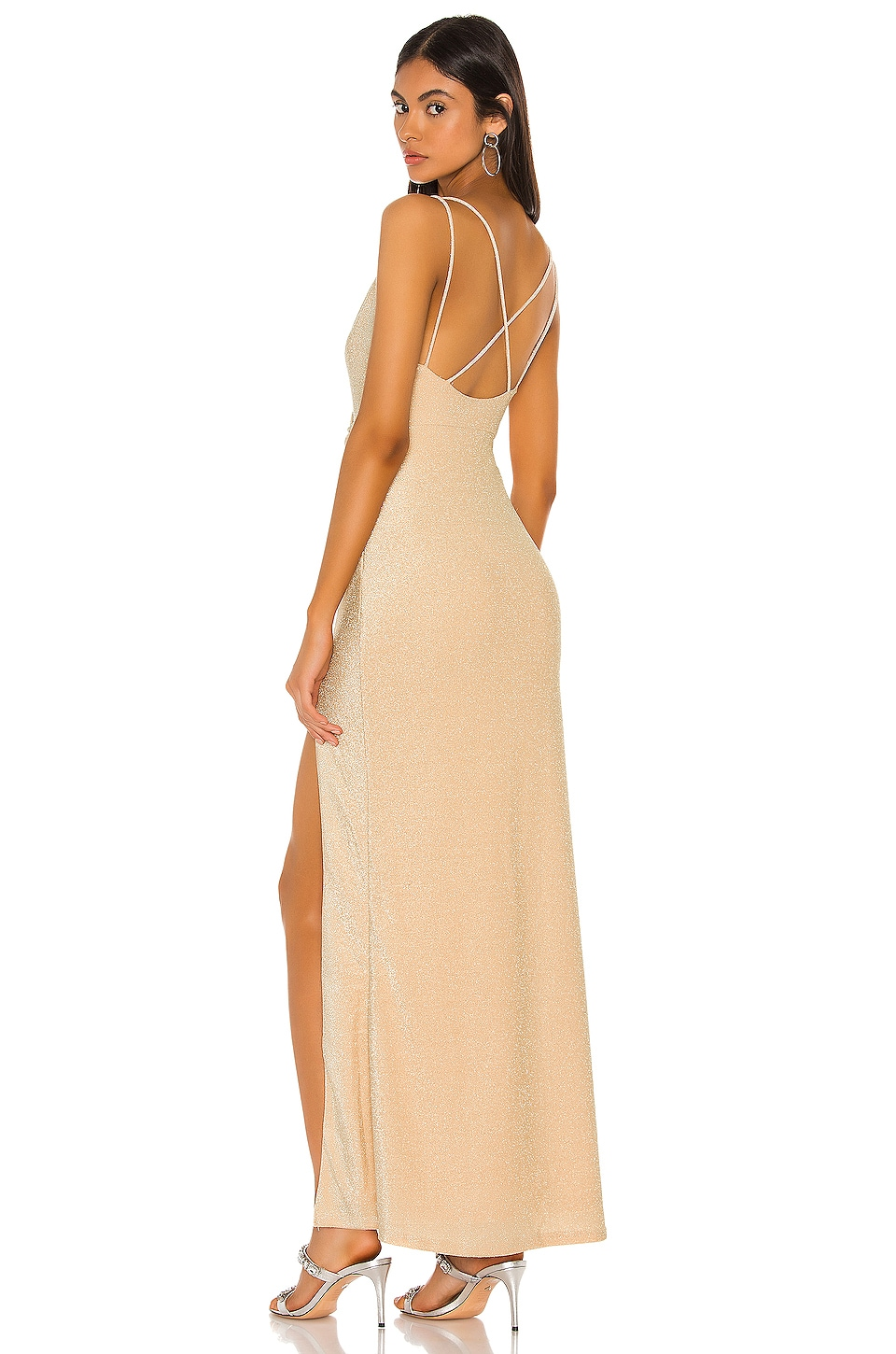 superdown Karmin Ruched Maxi Dress in Gold
