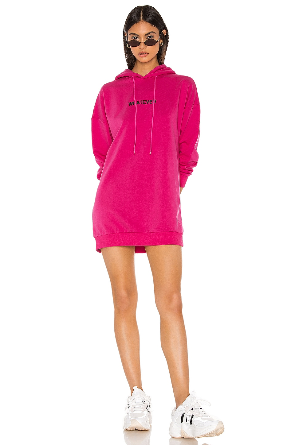 superdown Karina Sweatshirt Dress in Hot Pink