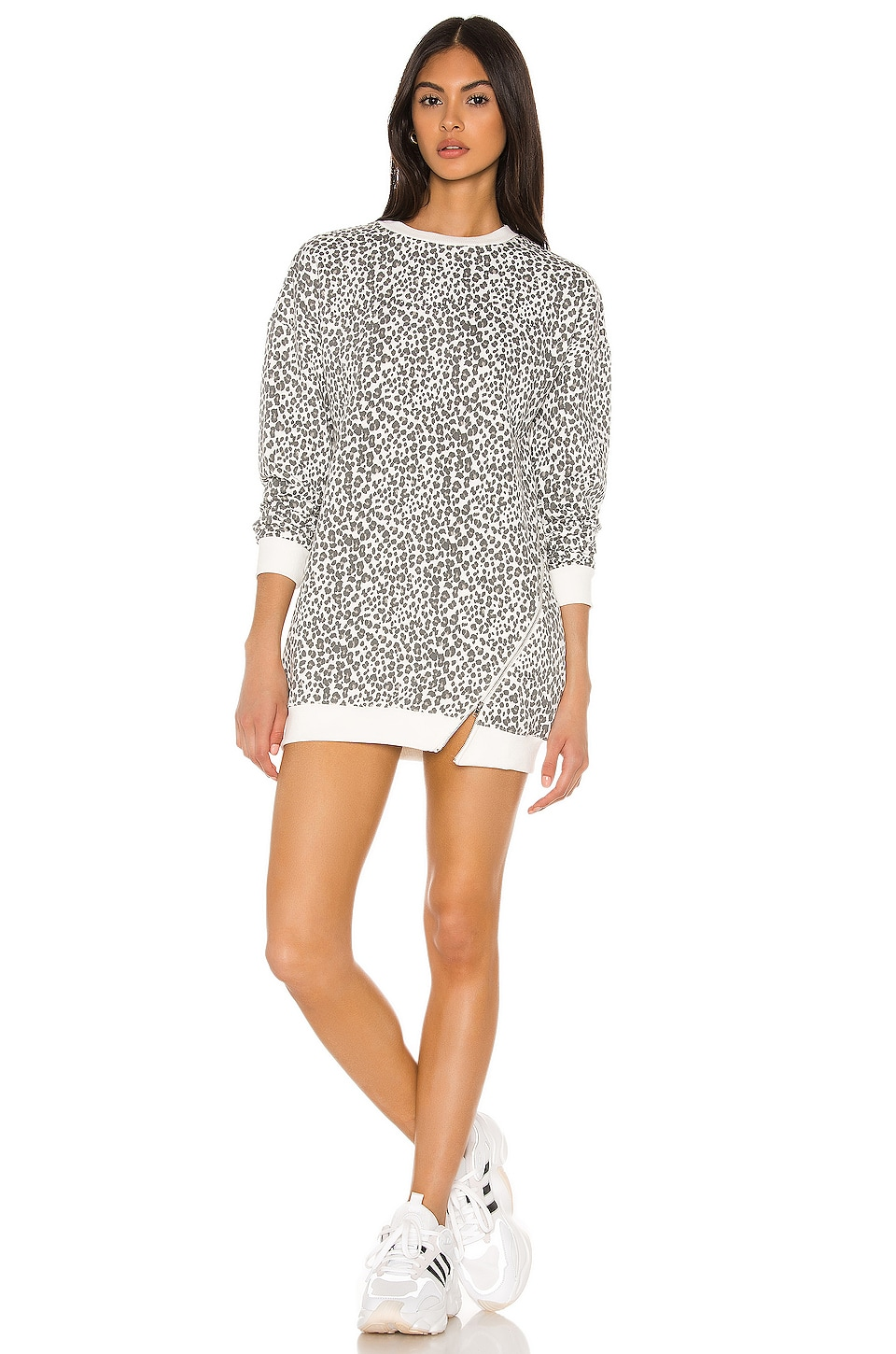 superdown Tarina Zip Sweatshirt Dress in White Leopard