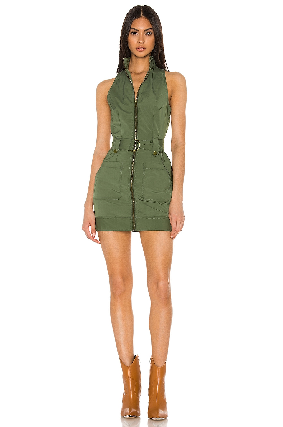 superdown Sofia Belted Mini Dress in Army Green