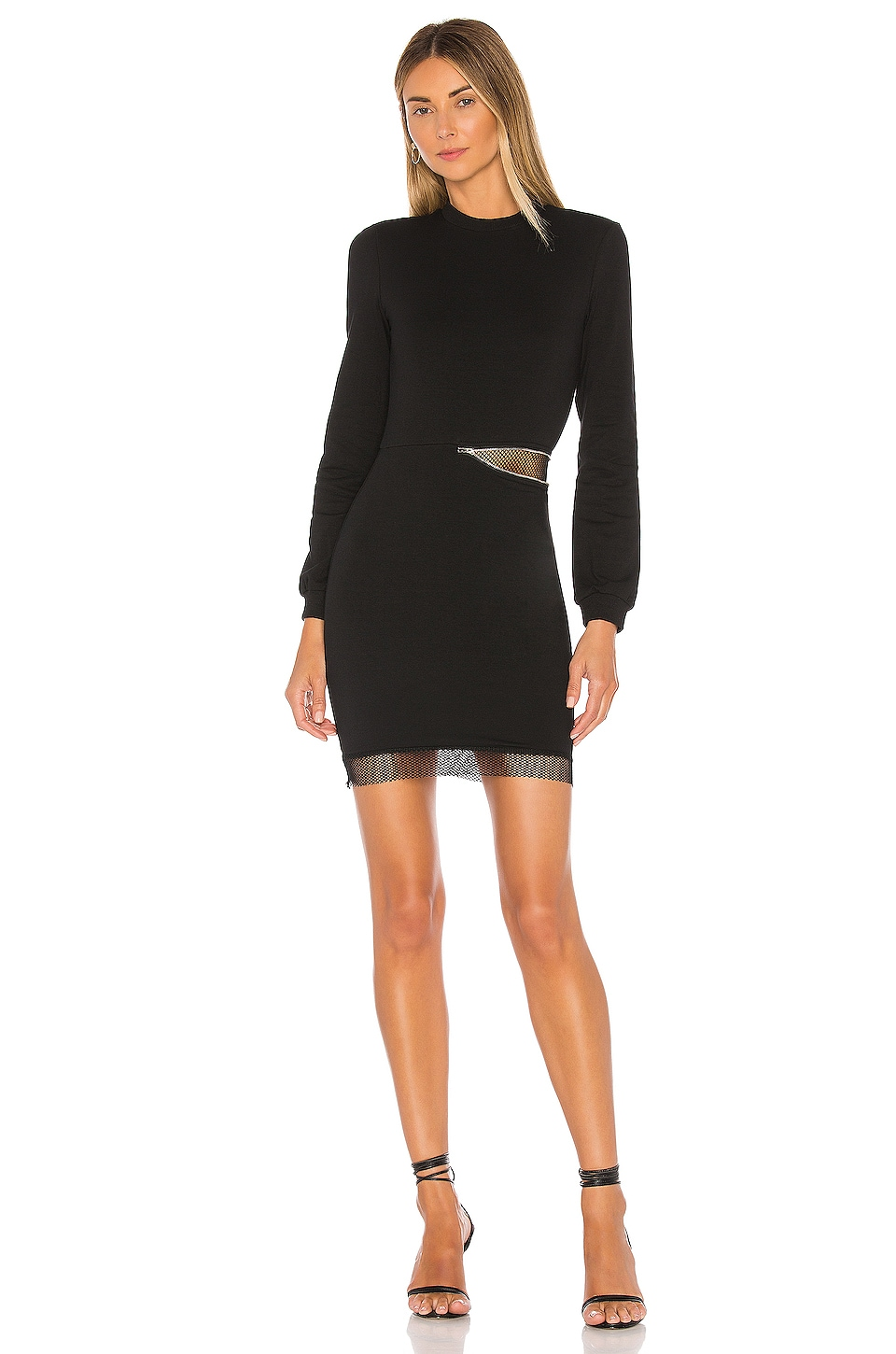 superdown Iselia Fishnet Sweatshirt Dress in Black