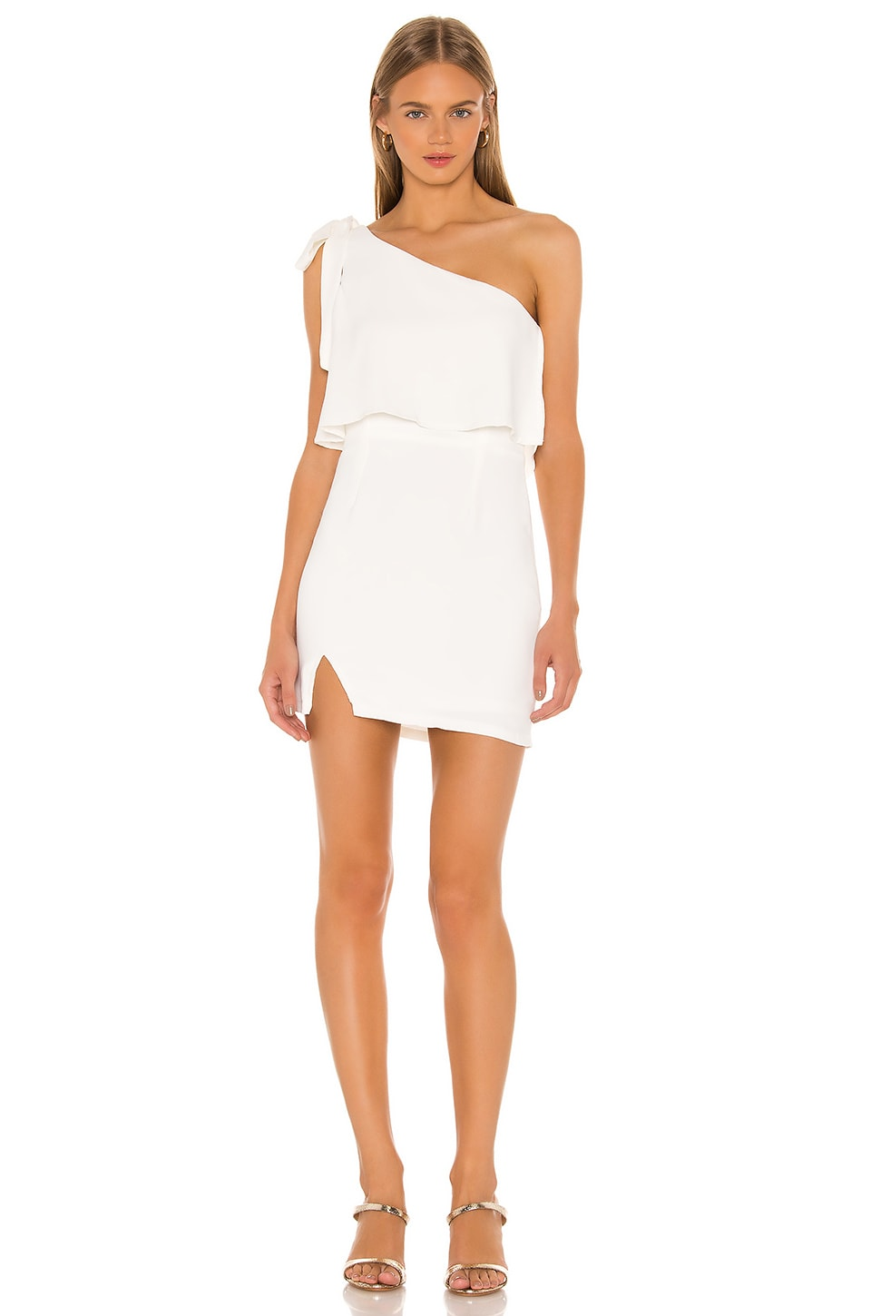superdown Jenna One Shoulder Dress in White