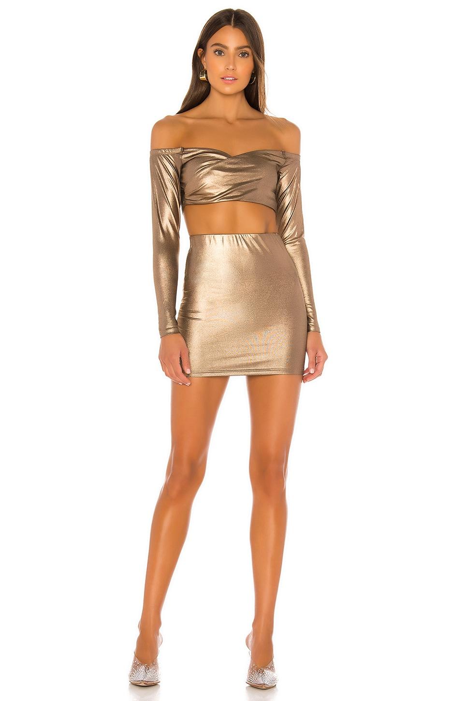 superdown Ira Off Shoulder Mini Skirt Set in Bronze