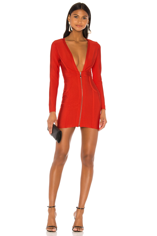 superdown Brynn Zip Front Dress in Red