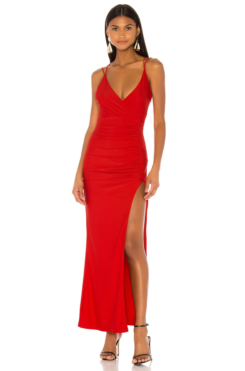 superdown Karmin Ruched Maxi Dress in Red