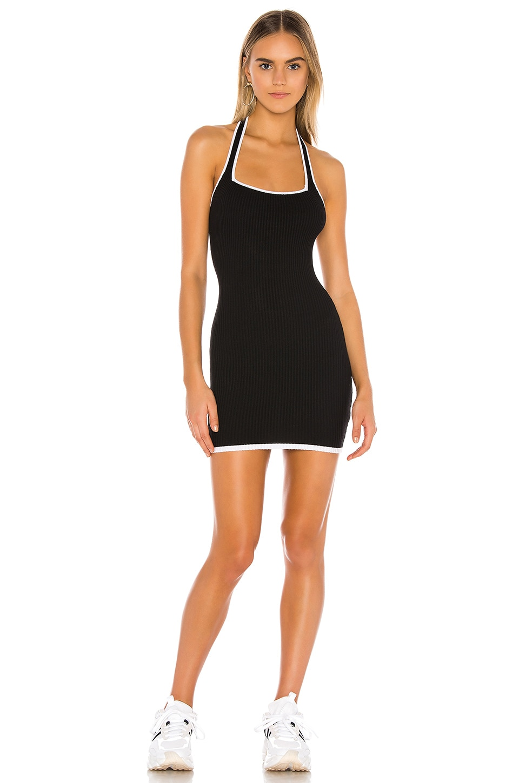 superdown Eva Halter Rib Dress in Black & White
