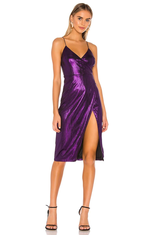 superdown Misty Surplice Midi Dress in Purple