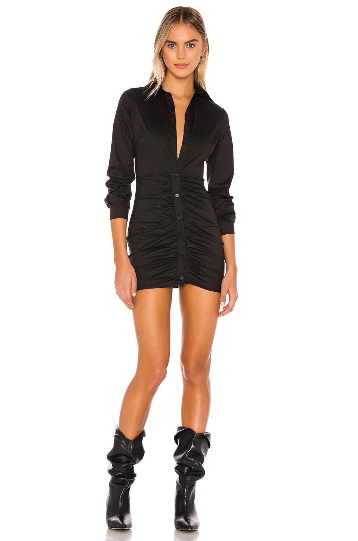 superdown Colette Ruched Shirt Dress in Black