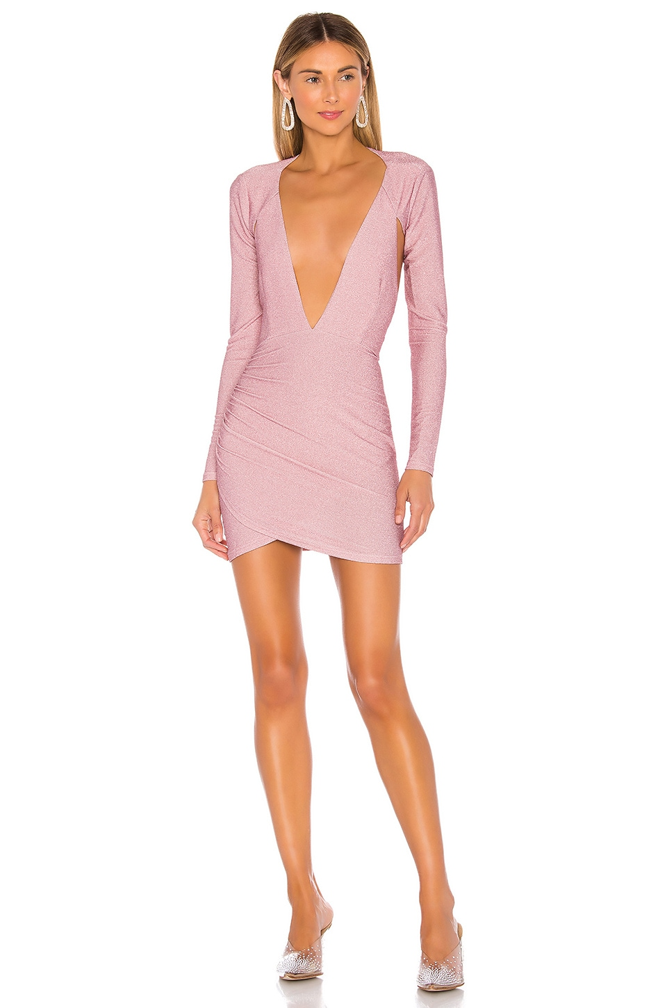 superdown Hazel Deep V Dress in Baby Pink