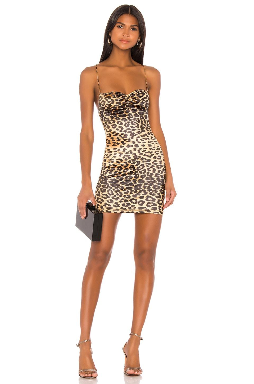 superdown x Draya Michele Tasha Ruched Mini Dress in Leopard