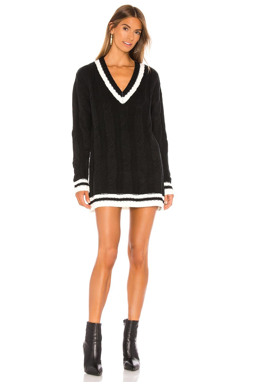 superdown Shawnie Varsity Sweater Dress in Black & White