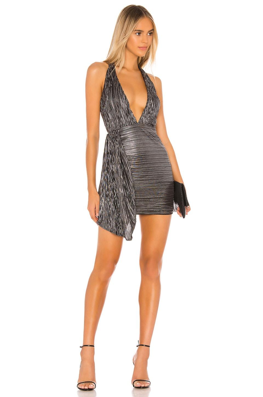 superdown Esme Halter Drape Dress in Gunmetal