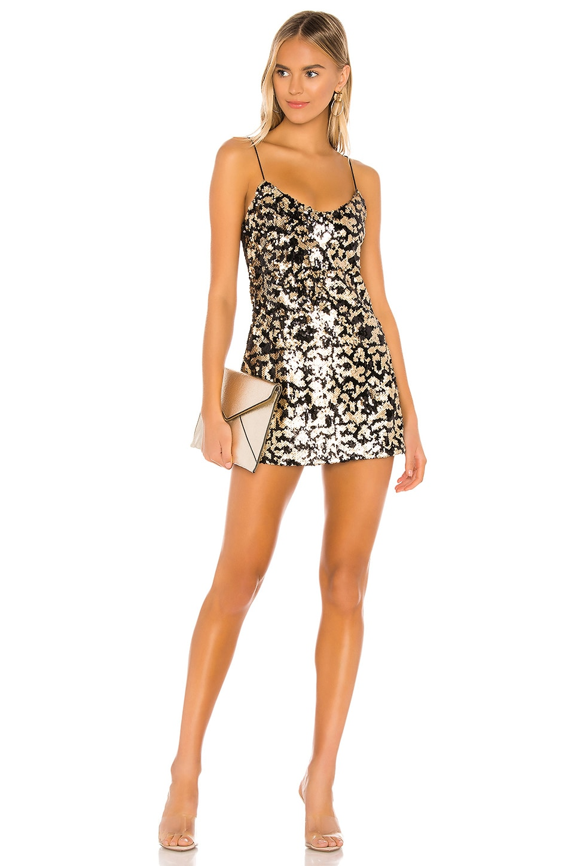 superdown Bryanna Mini Dress in Black & Gold