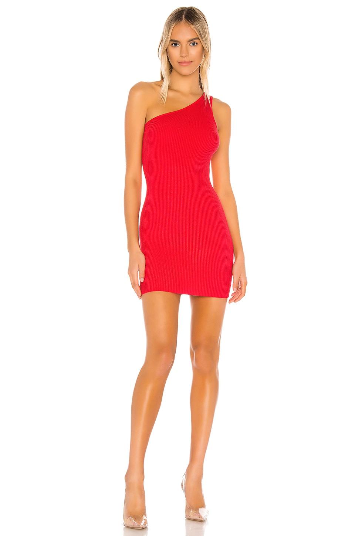 superdown Chelsie One Shoulder Dress in Poppy