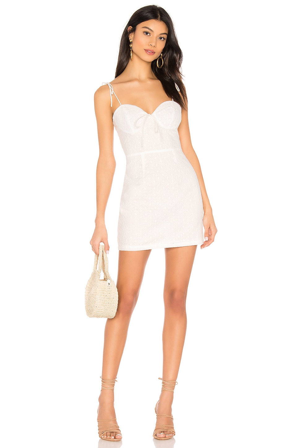 superdown Anabelle Tie Strap Dress in White