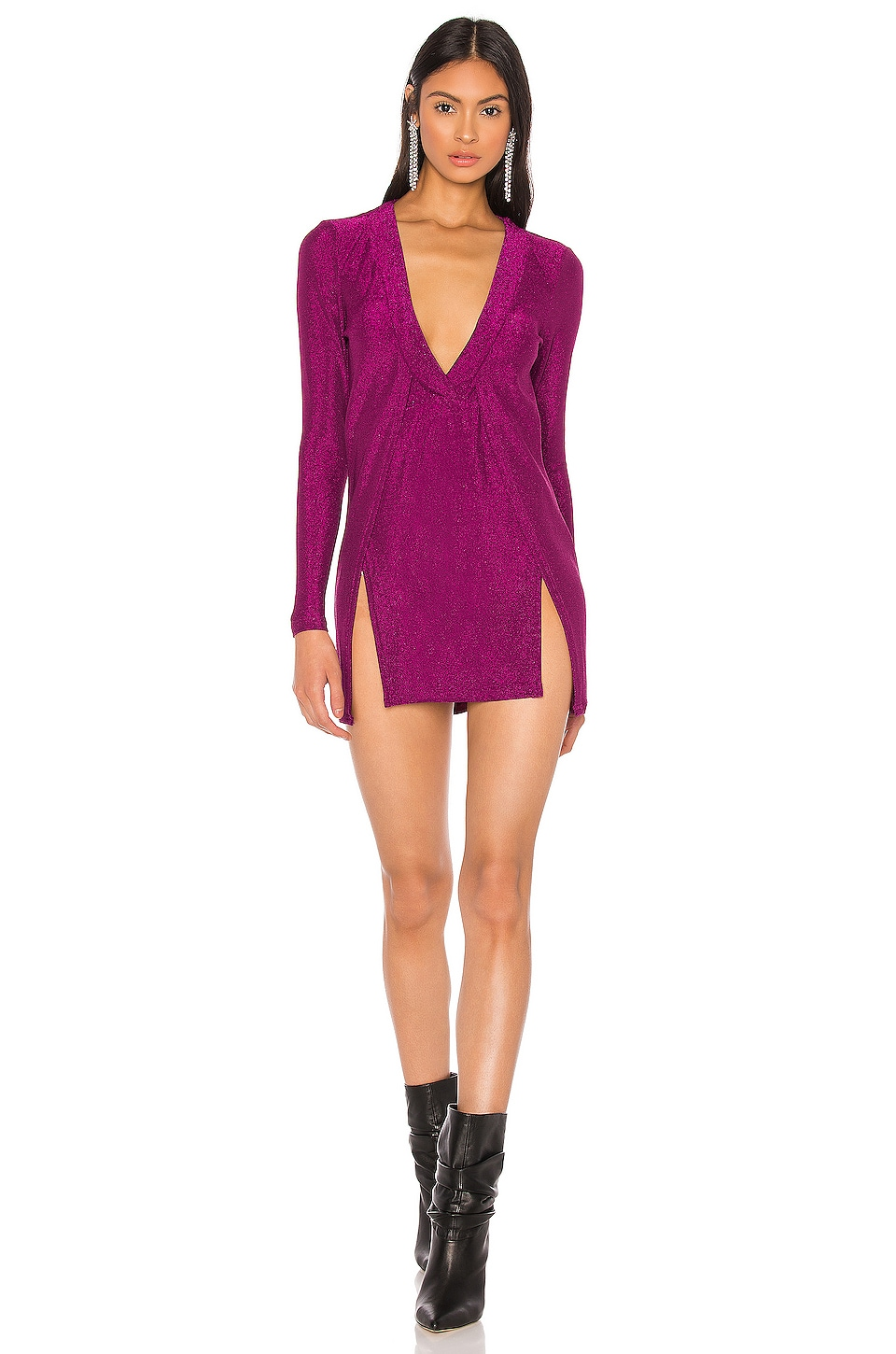 superdown x Draya Michele Mellie Dual Slit Mini Dress in Magenta