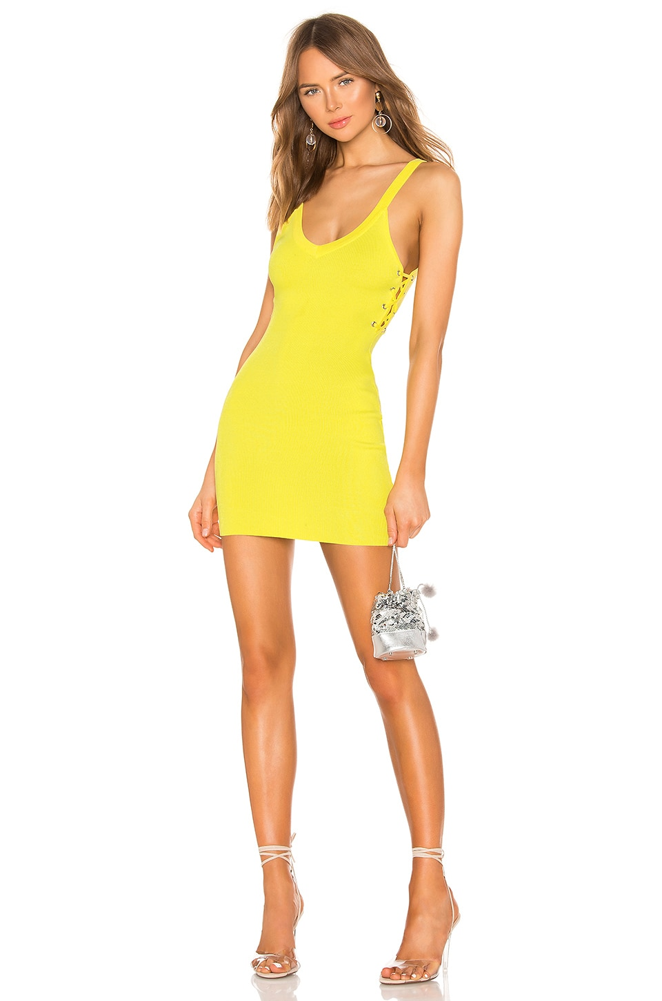 superdown Adelyn Lace Up Dress in Yellow