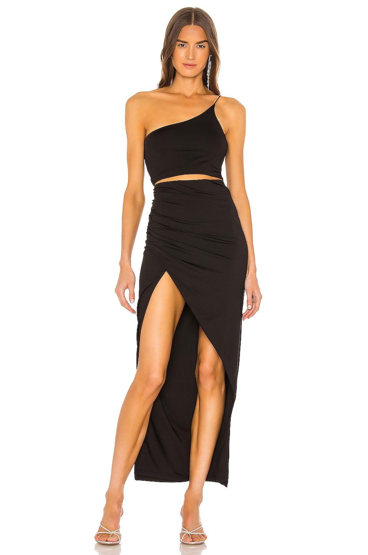 superdown x Draya Michele Lydia Maxi Skirt Set in Black
