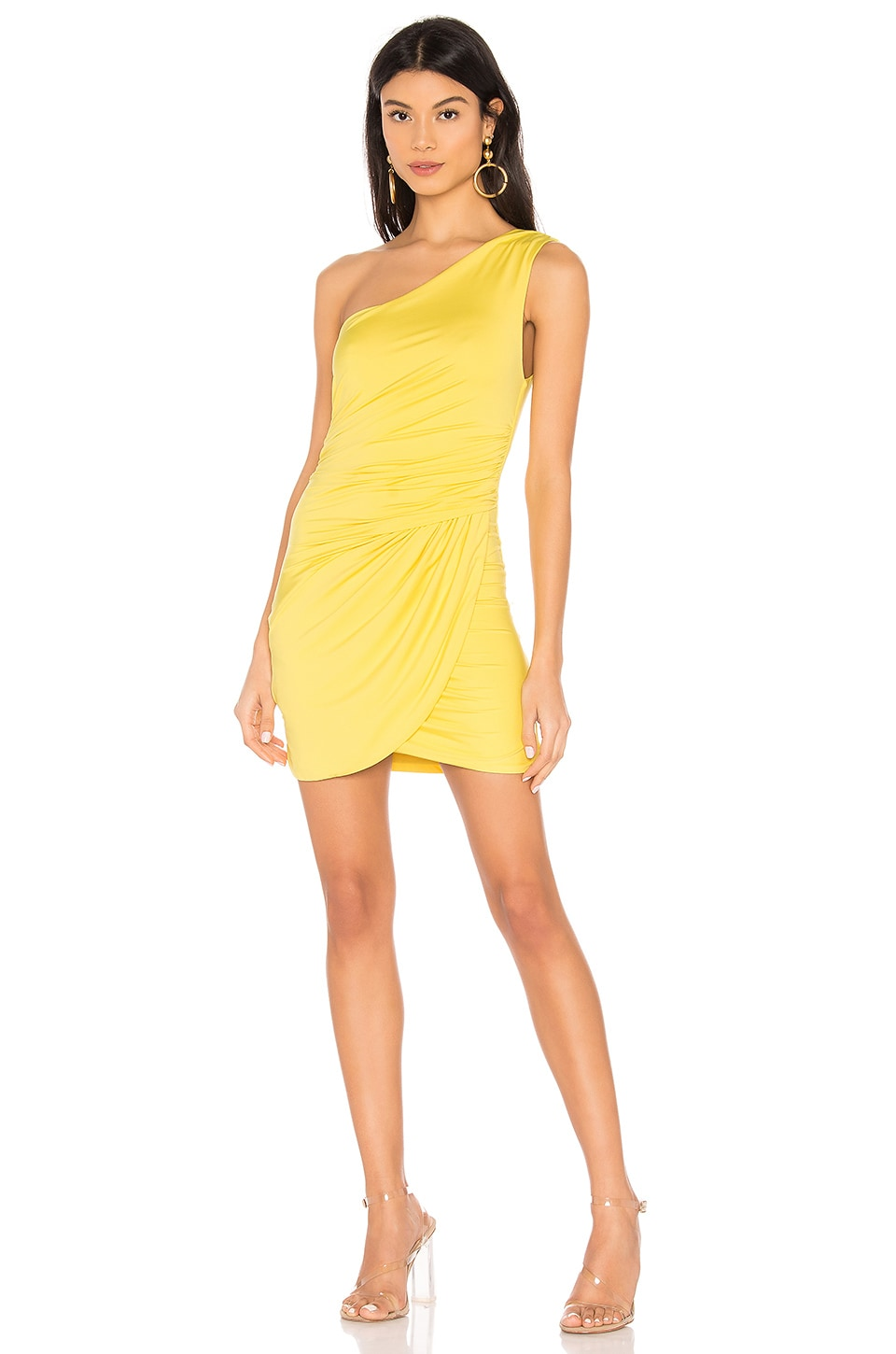 superdown Harper One Shoulder Dress in Yellow