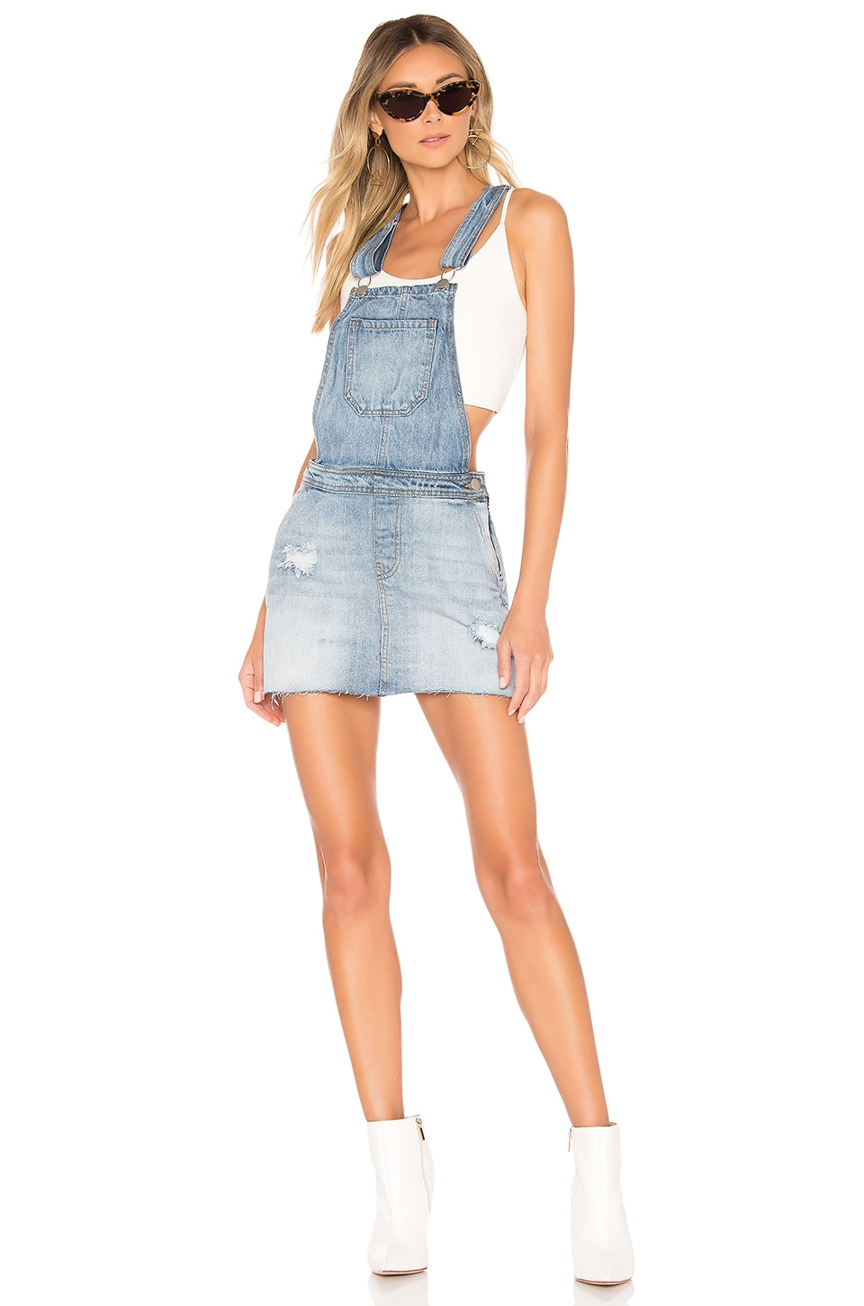 superdown Candy Overall Skirt Dress in Light Wash