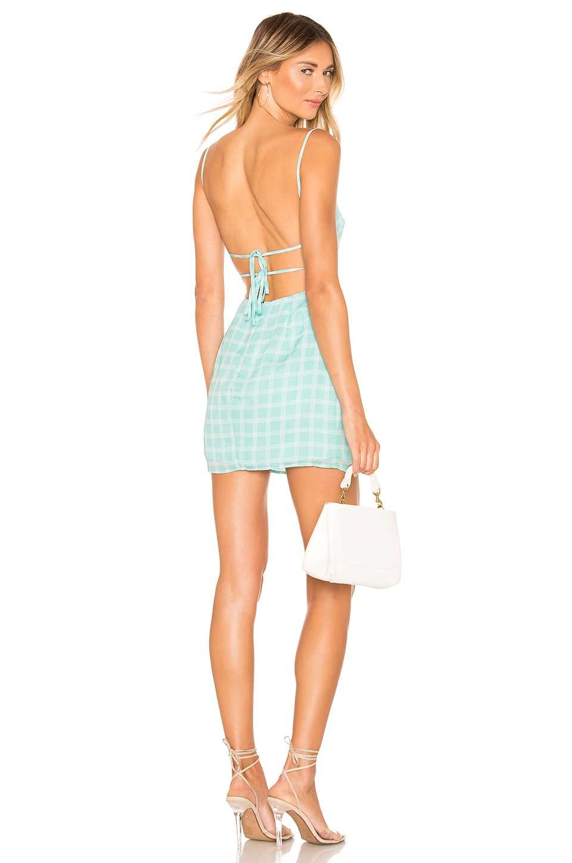 superdown Elinn Strappy Back Dress in Mint Plaid