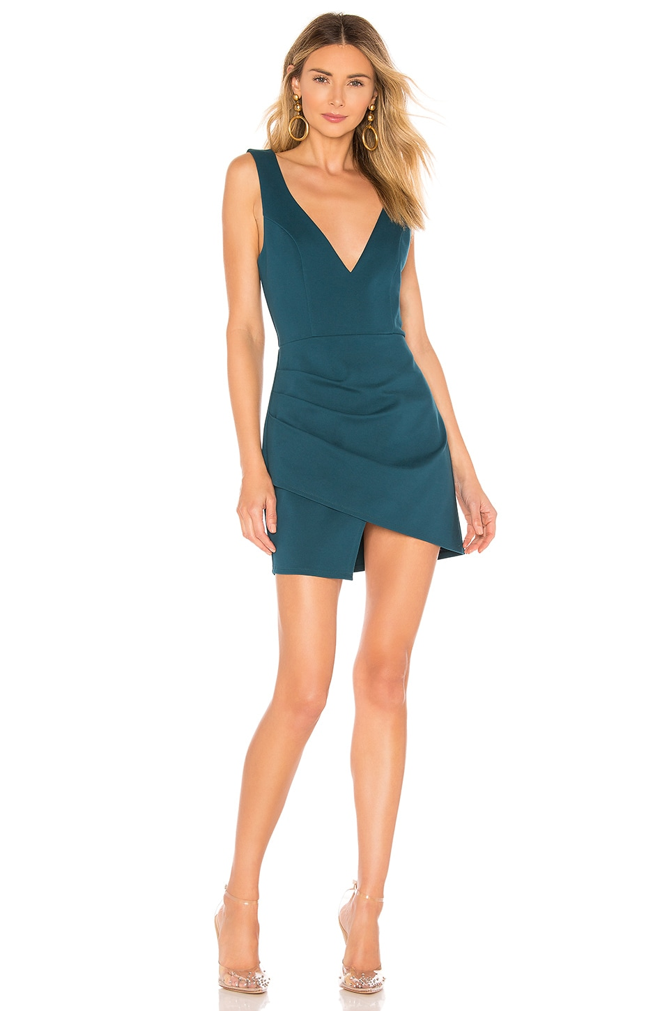 superdown Wendy Surplice Mini Dress in Teal Blue