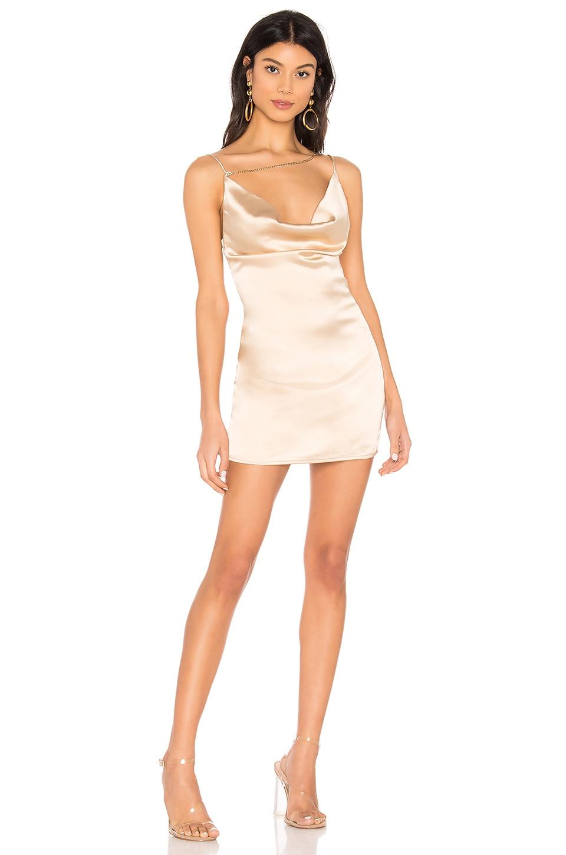 superdown Zahra Asymmetrical Cowl Dress in Champagne