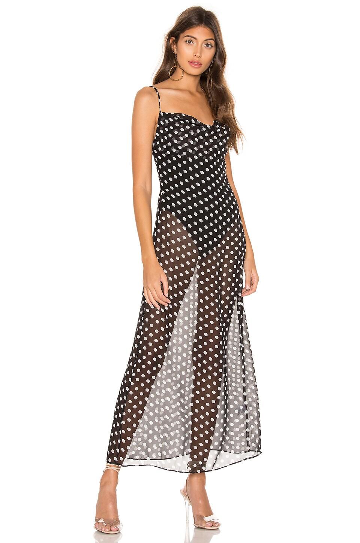 superdown Dina Draped Maxi Dress in Black Polka Dot