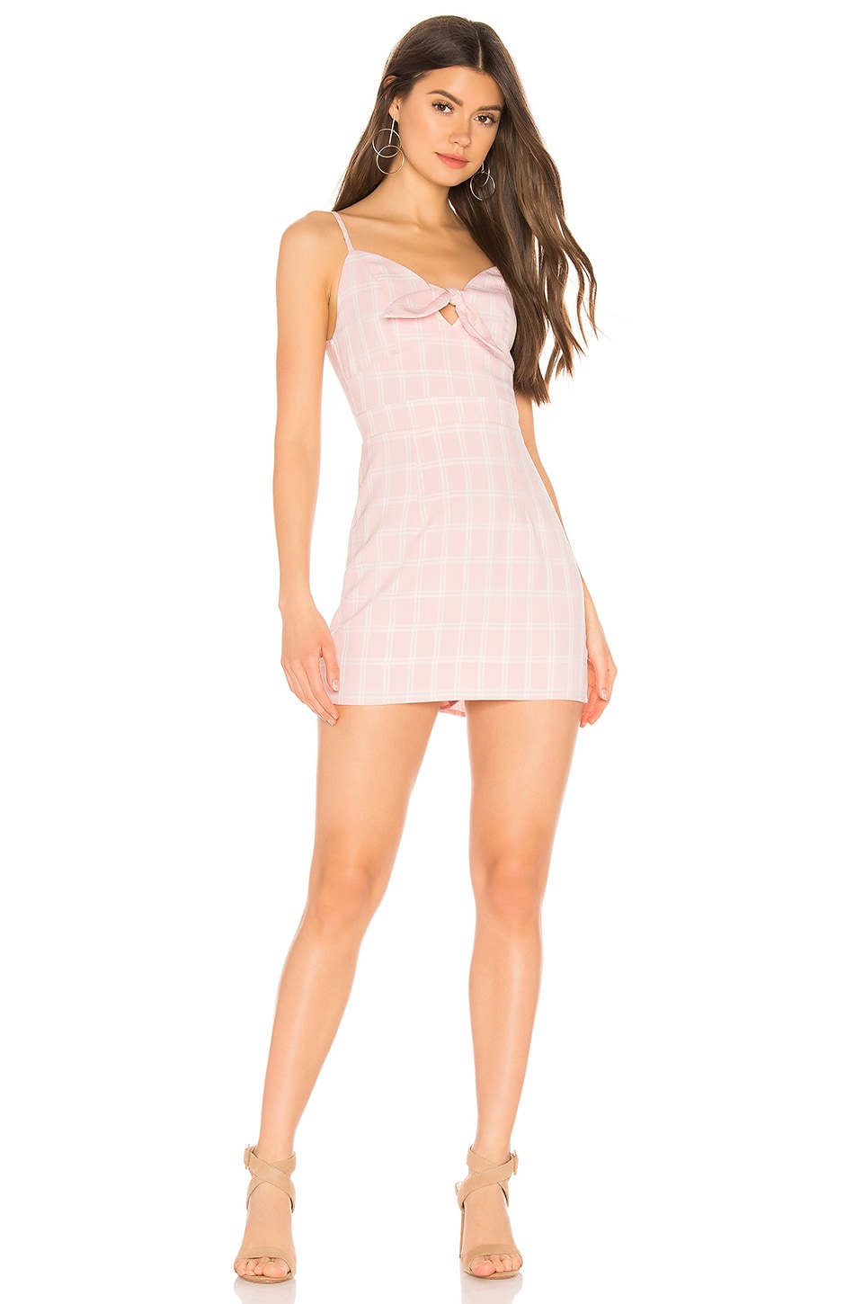 superdown Montana Tie Front Dress in Pink Plaid