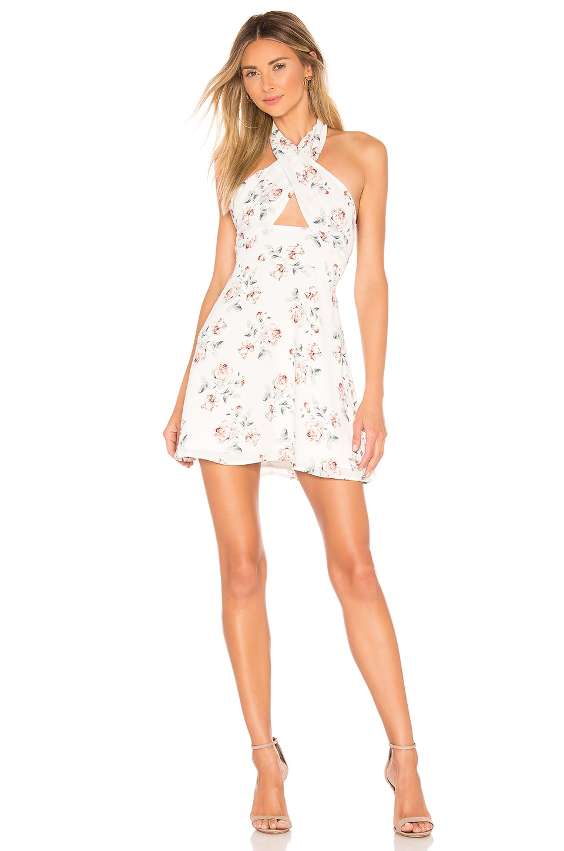 superdown Ember Halter Dress in White Floral