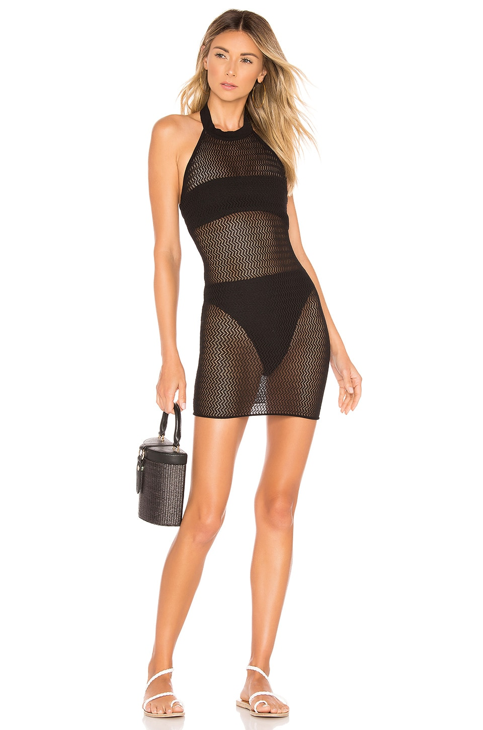 superdown Racheal Net Halter Dress in Black
