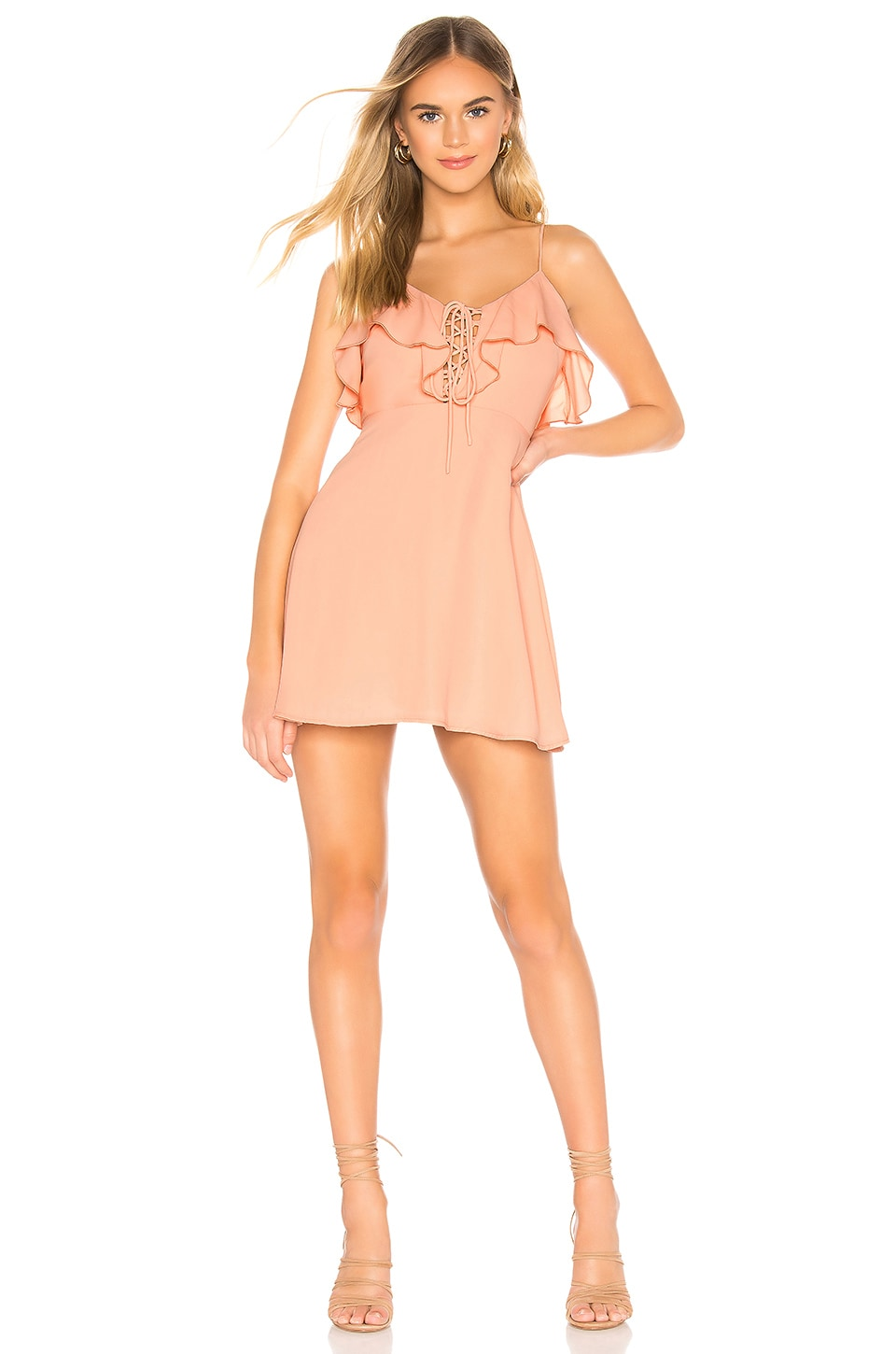 superdown Whitney Ruffle Lace Up Dress in Light Pink