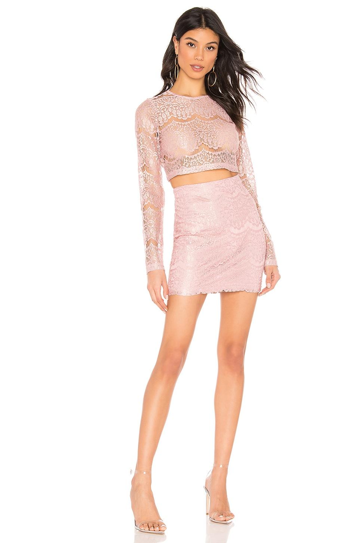 superdown Hilda Lace Skirt Set Lace in Blush
