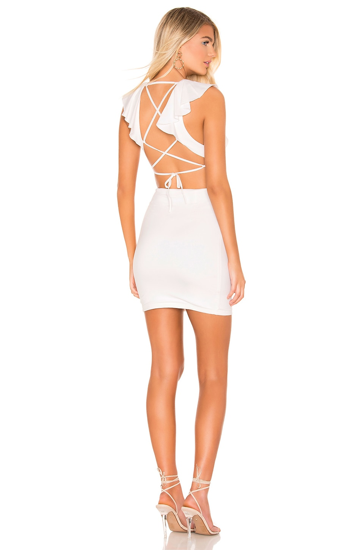 superdown Leslie Lace Up Back Dress in White