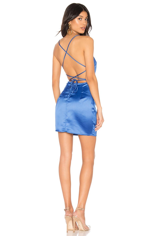 superdown Yve Backless Satin Mini Dress in Cobalt Blue