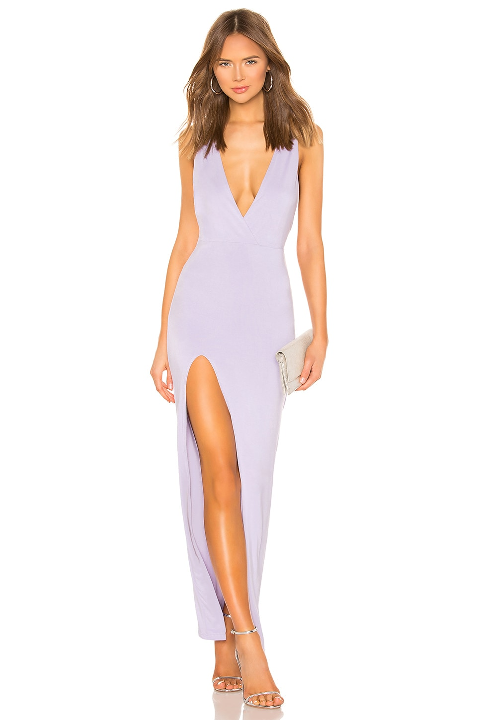 superdown Erika Deep V Jersey Maxi in Lavender