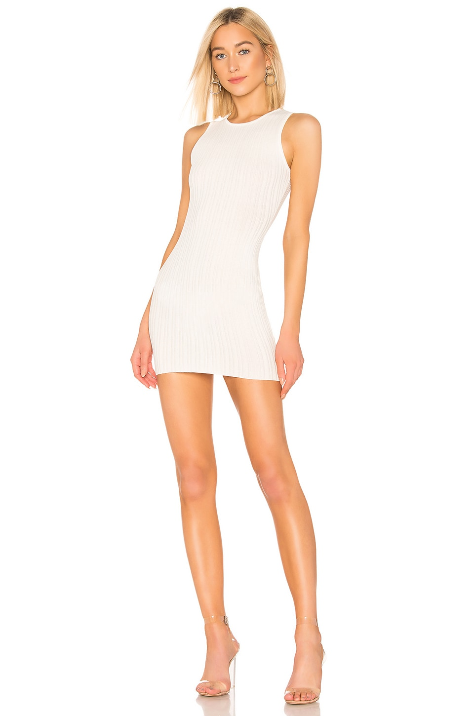 superdown Rebecca Ribbed Mini Dress in Ivory