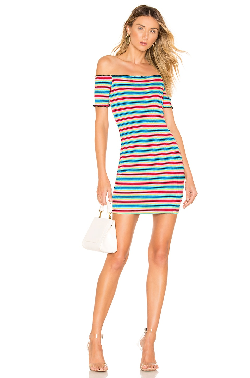 superdown Trisha Mini Dress in Rainbow Stripe