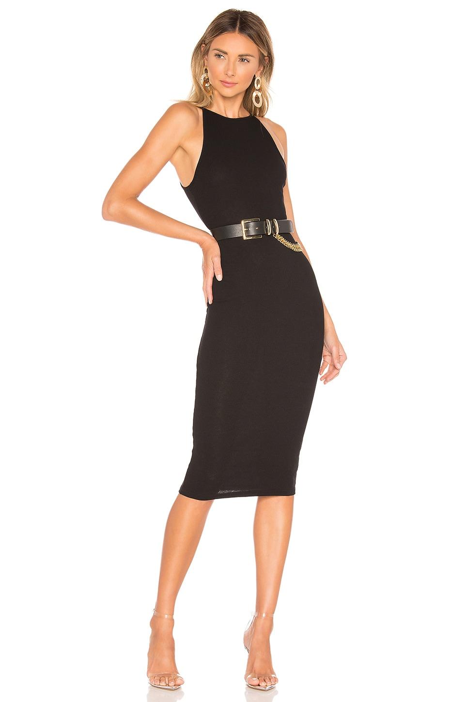superdown Katy Ribbed Midi Dress in Black