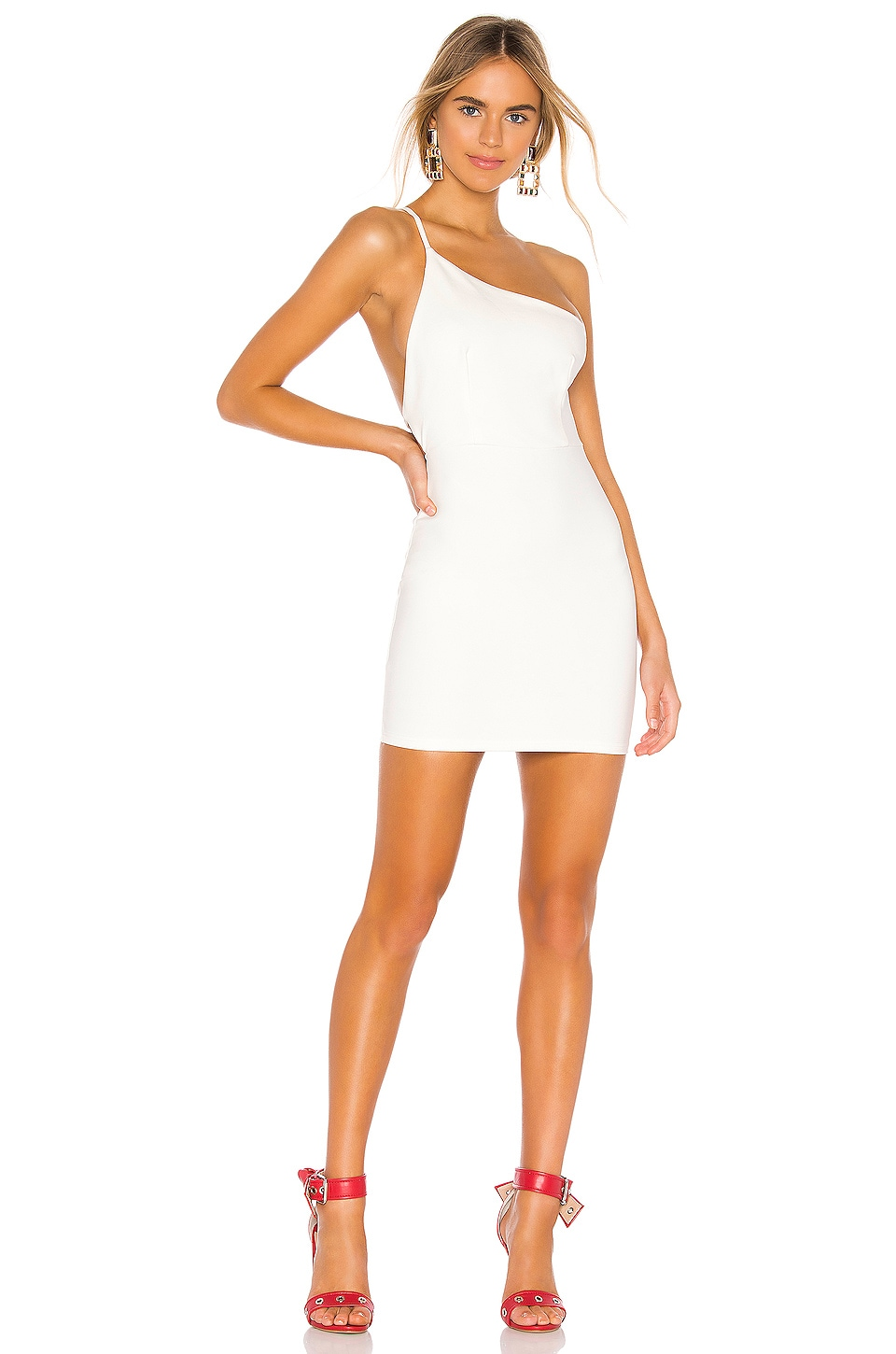 superdown Brigette One Shoulder Dress in White
