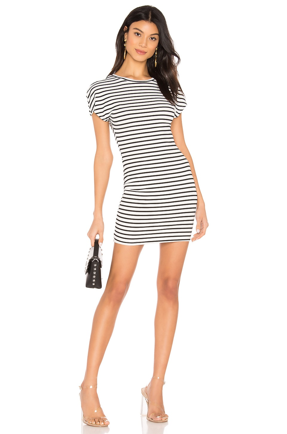 superdown Bea Striped Tee Dress in Black & White