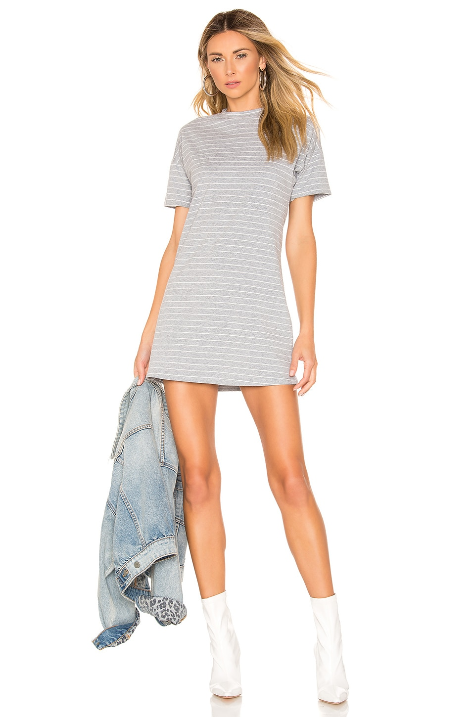 superdown Anaya Tee Dress in Grey & White Stripe