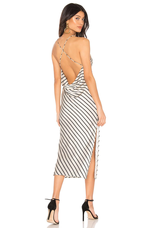 superdown Paloma Cowl Back Dress in Champagne Stripe