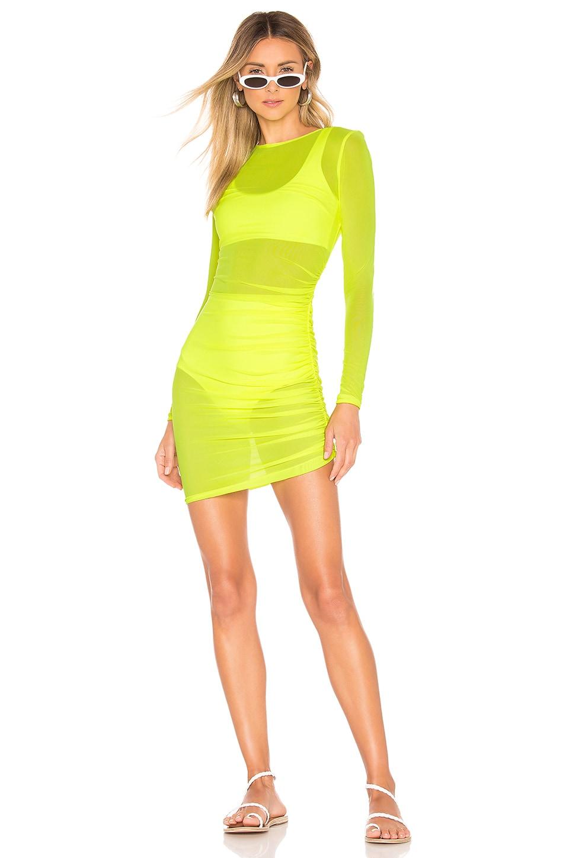 superdown x REVOLVE Angela Ruched Mesh Dress in Neon Green