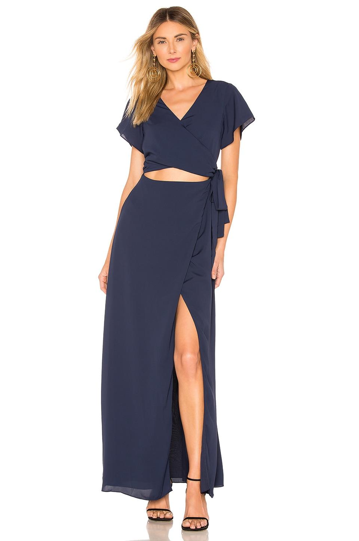 superdown Casey Wrap Maxi Dress in Navy Blue