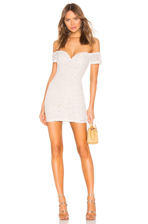 superdown Sara Off Shoulder Mini Dress in White