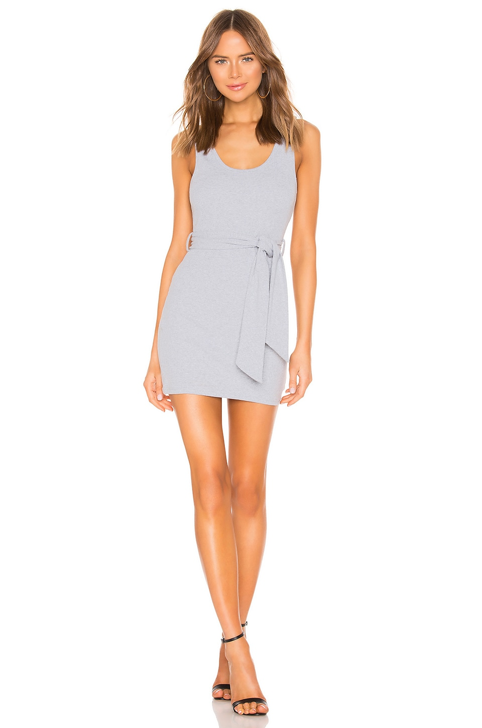superdown Carol Ribbed Tie Dress in Light Grey